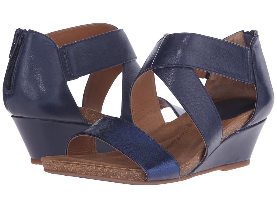 Sofft Vallar Sport Navy/Metallic Blue Odyssey/Cow Metallic Womens Wedge Shoes