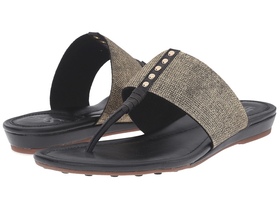 Sofft Ameda Black M Vege/Cotton Foil Elastic Womens Sandals