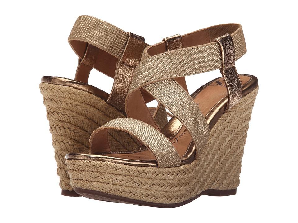 Sofft Perla Gold Rush Foil Goat/Cotton Foil Elastic High Heels