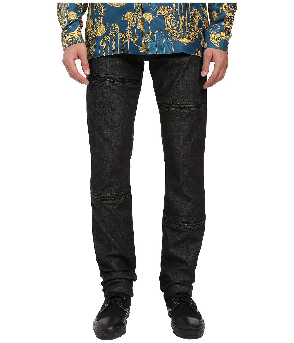 Versace Collection Zip Panel Denim Black Rinsed Mens Jeans