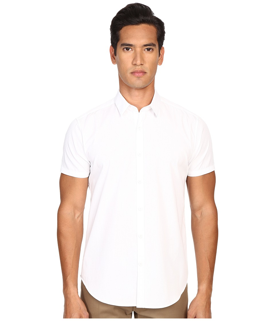 Theory Zack PS S.Norwich Button Up White Mens Short Sleeve Button Up