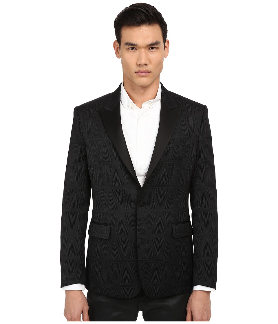 Versace Collection Pyramid Print One Button Blazer Black Mens Jacket