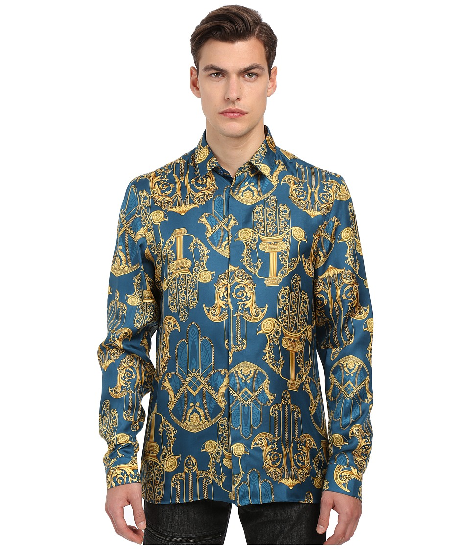 Versace Collection Iconic Baroque Print Silk Button Up Navy/Gold Mens Long Sleeve Button Up