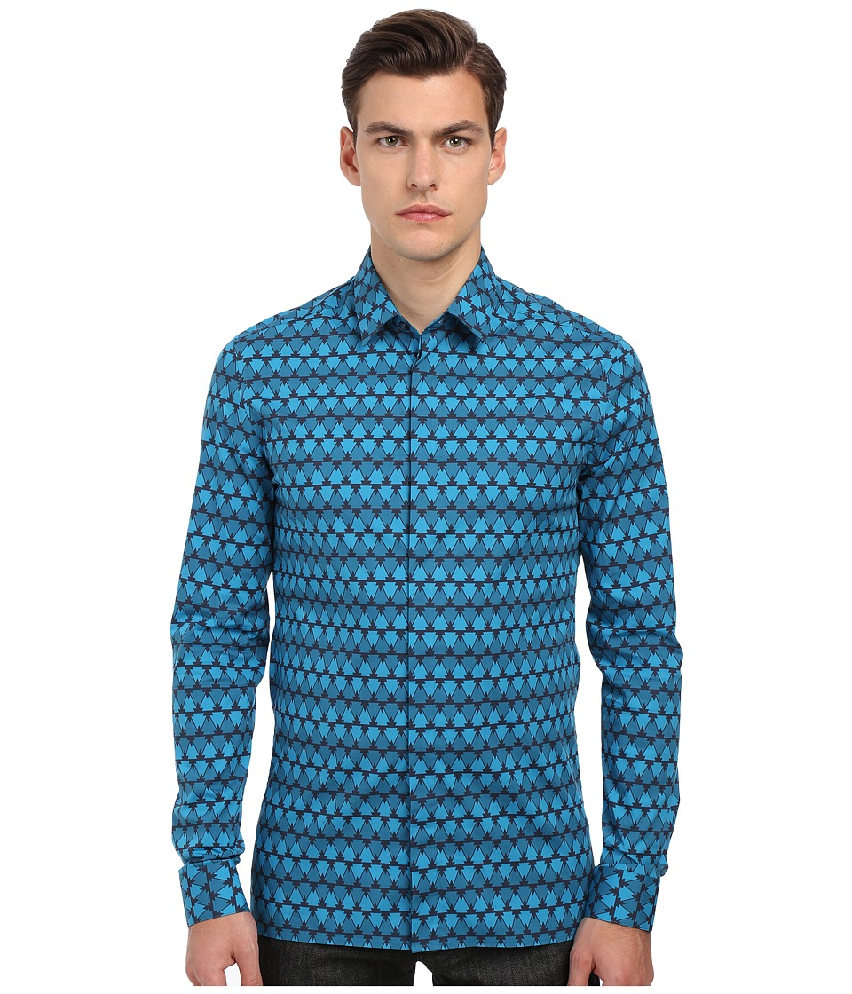 Versace Collection Geometric Print Stretch Button Up Navy/Blue Mens Long Sleeve Button Up