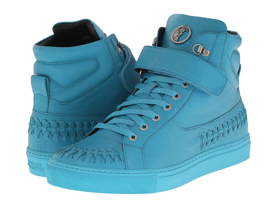 Versace Collection Woven Leather Hi Top Sneaker Turquoise Mens Lace up casual Shoes