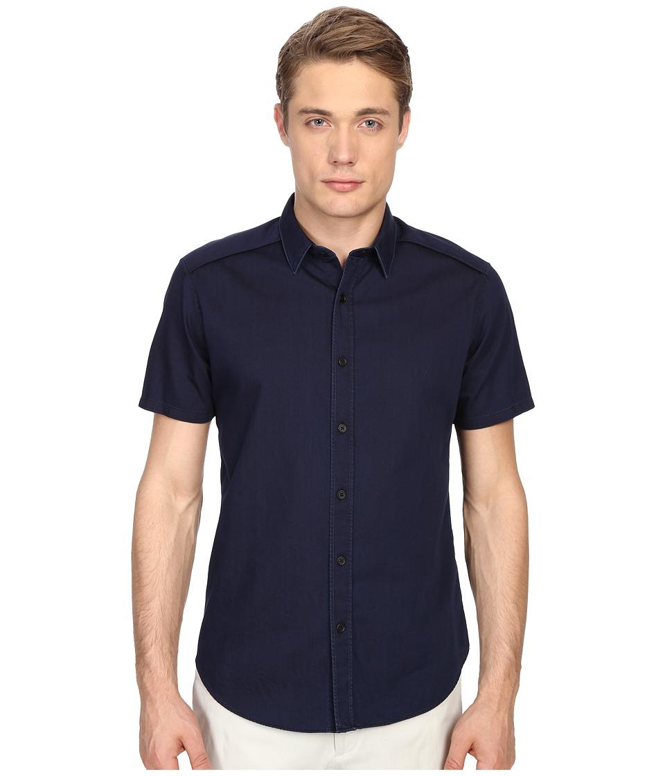Theory Zachary S.Limburg Button Up Indigo Mens Short Sleeve Button Up