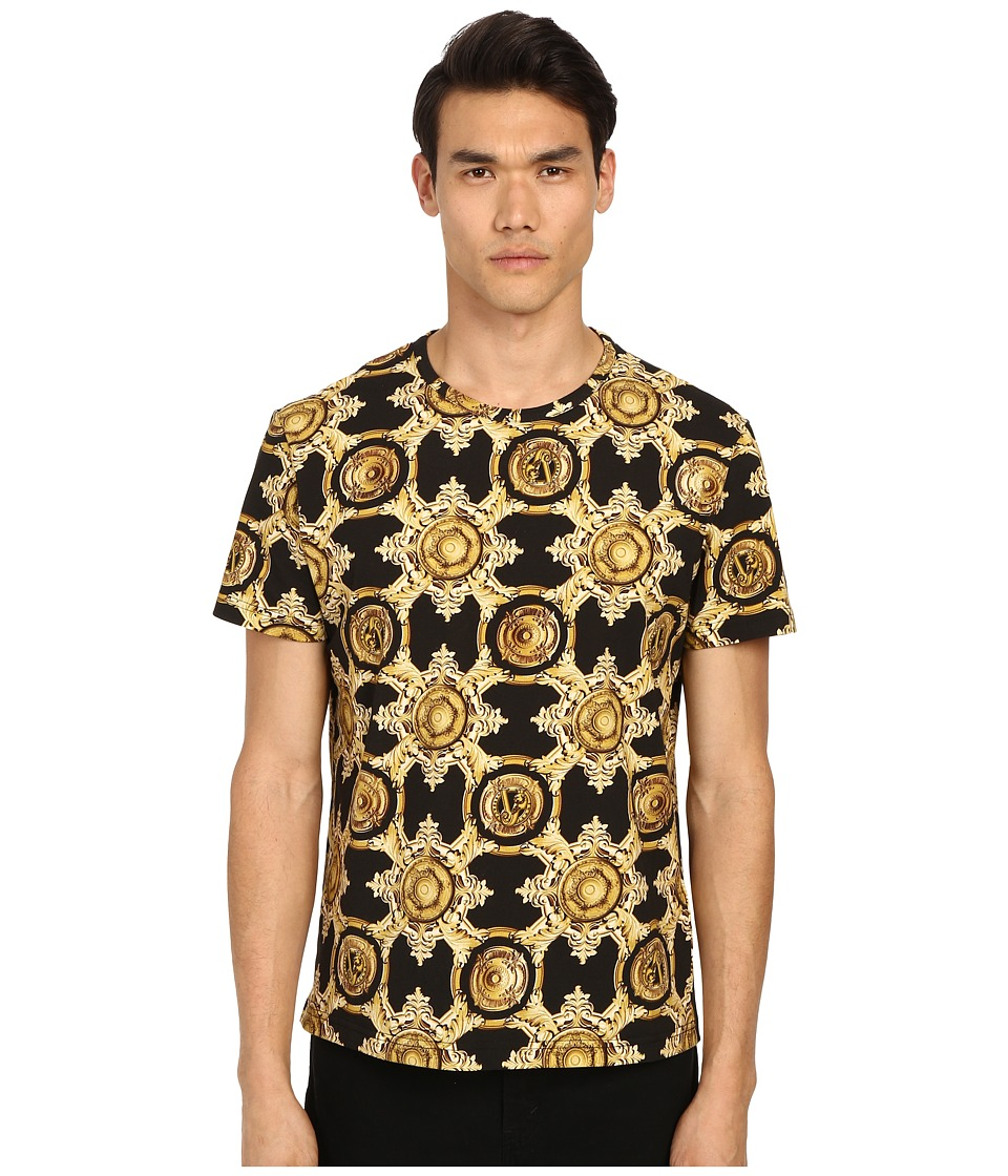 Versace Jeans Baroque Medallion Print Short Sleeve T Shirt Black/Gold Mens T Shirt