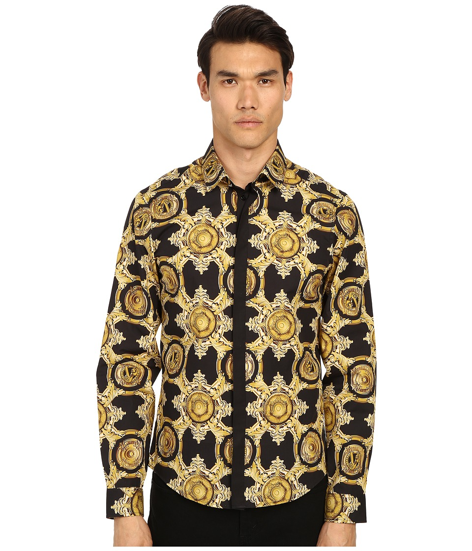Versace Jeans Baroque Medallion Print Button Up Black/Gold Mens Long Sleeve Button Up