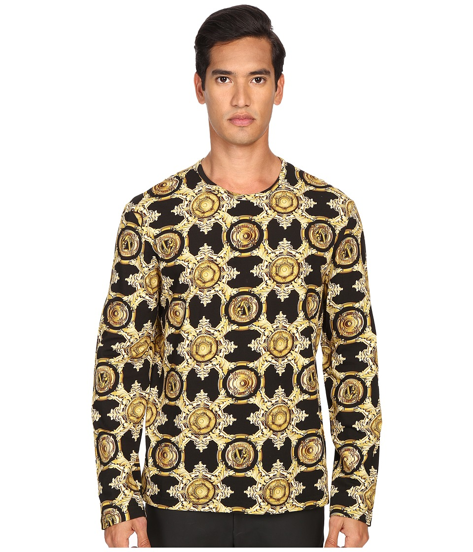Versace Jeans Baroque Medallion Print Long Sleeve T Shirt Black/Gold Mens Long Sleeve Pullover