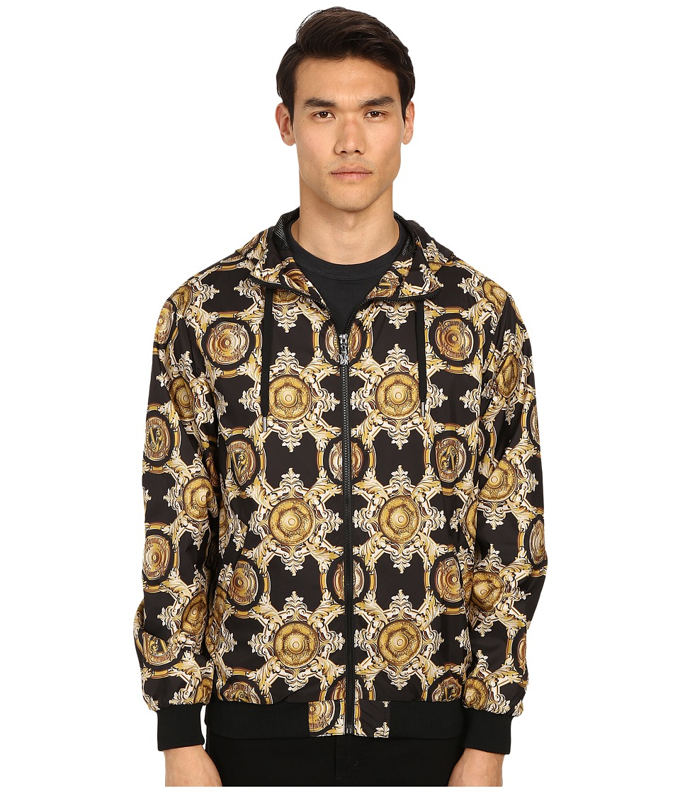 Versace Jeans Baroque Medallion Print Hooded Jacket Black/Gold Mens Sweatshirt