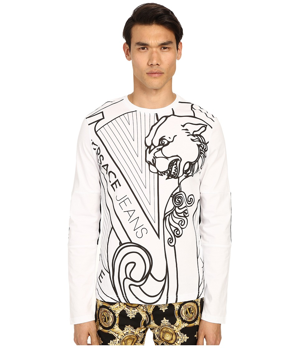 Versace Jeans Big Tiger Logo Long Sleeve T Shirt White Mens T Shirt