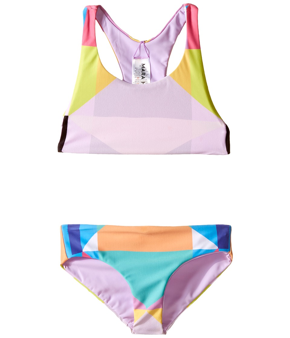 Mara Hoffman Kids Diamond Printed Racerback Bikini Top with Boardshorts Bottoms Toddler/Little Kids/Big Kids Aqua Girls Swimwear Sets