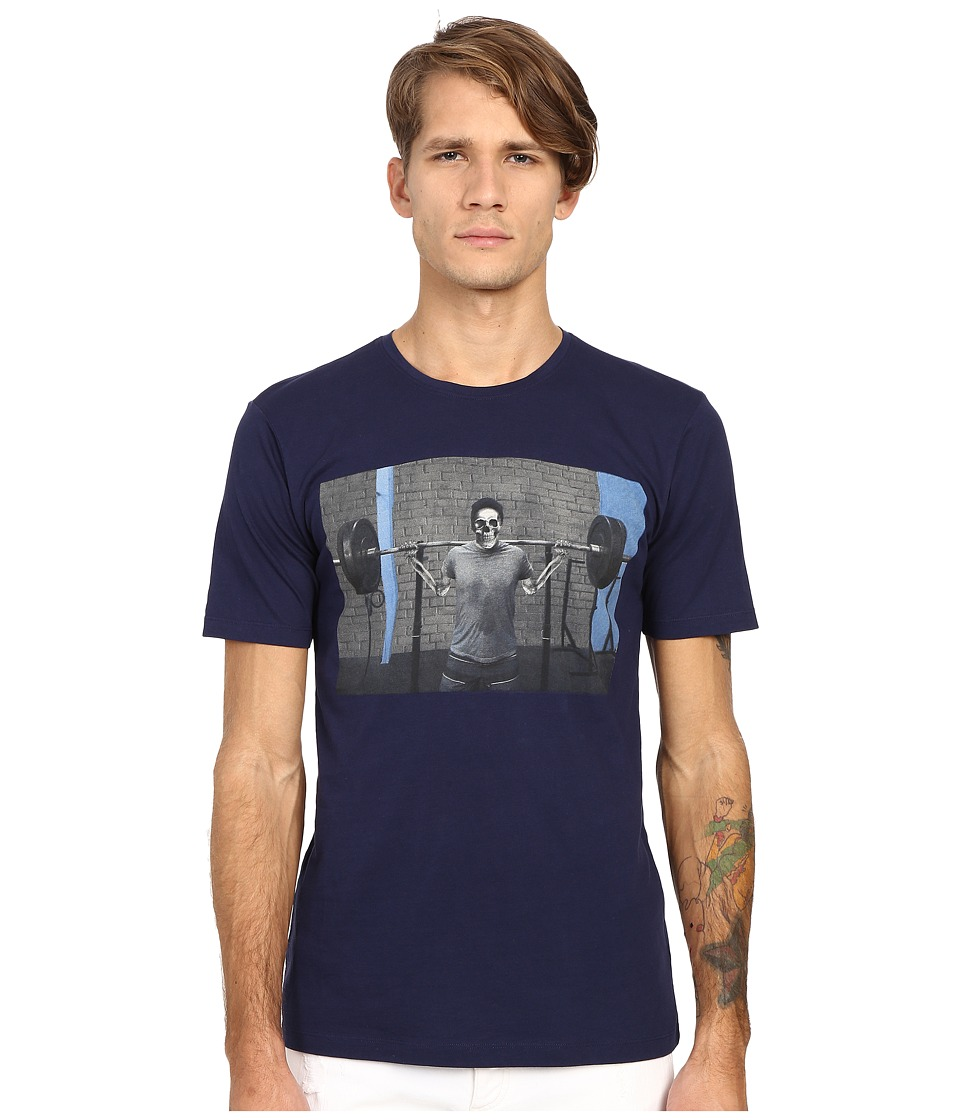 The Kooples Sport Slub Jersey Printed Tee Shirt Navy Mens T Shirt