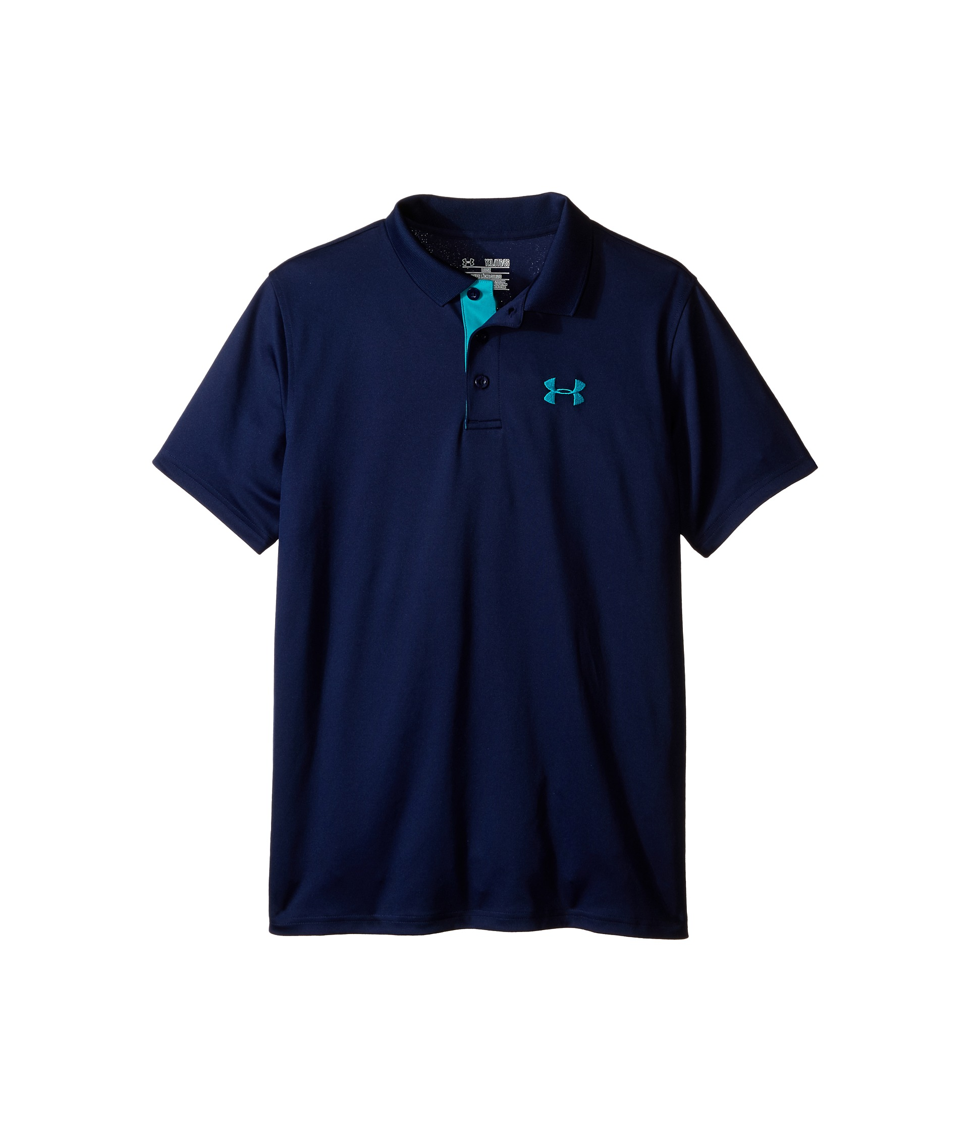 Under armour kids ua matchplay polo big kids navy seal for Teal under armour shirt