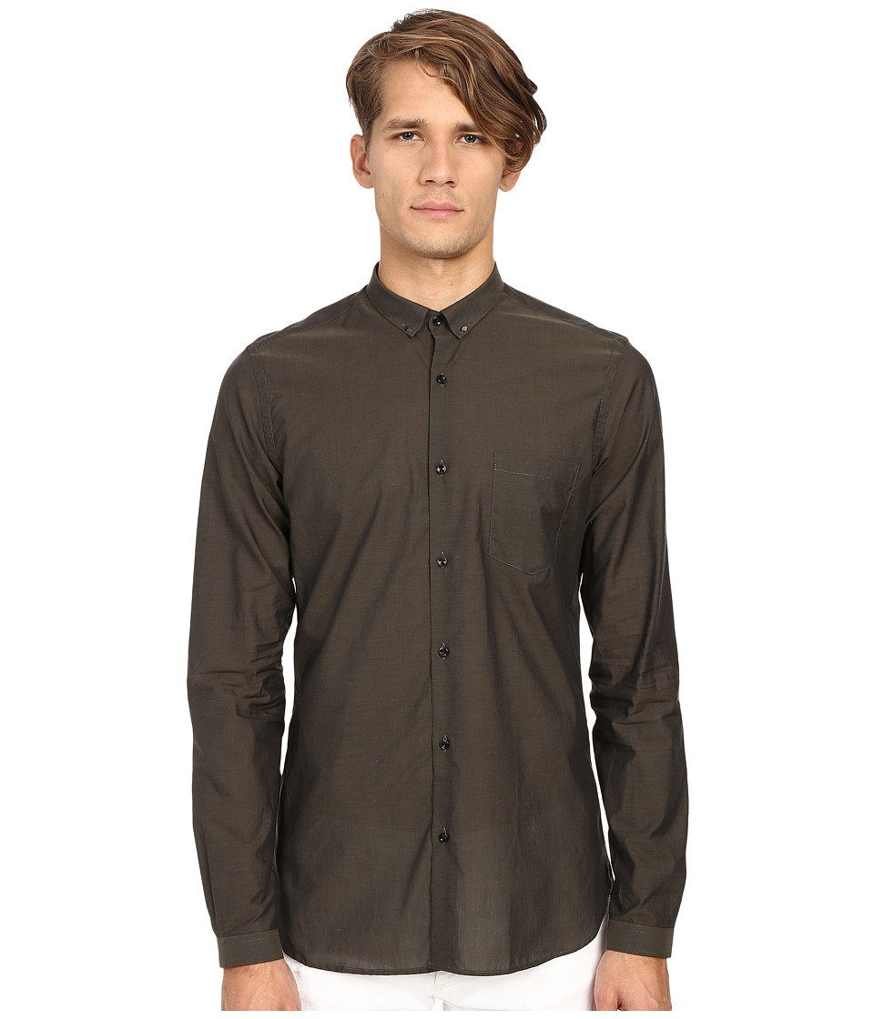 The Kooples Cotton Organza Shirt Khaki Mens Long Sleeve Button Up