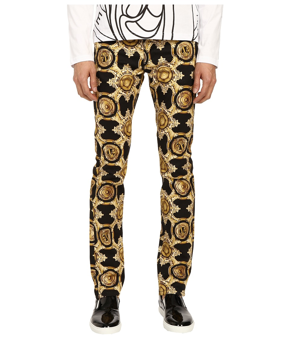 Versace Jeans Baroque Medallion Print Slim Fit Pants Black/Gold Mens Casual Pants