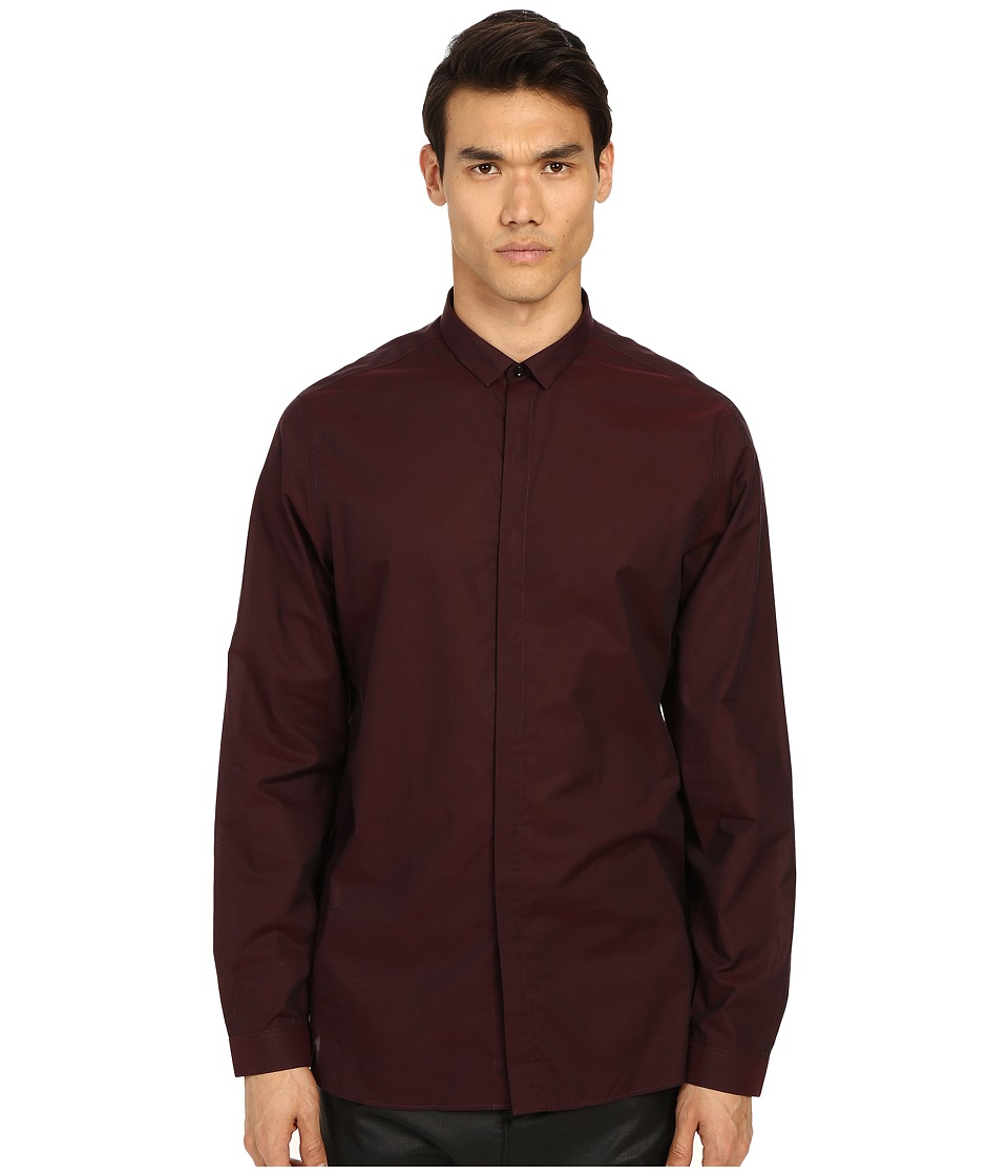 The Kooples Cotton Organza Shirt Burgundy Mens Long Sleeve Button Up