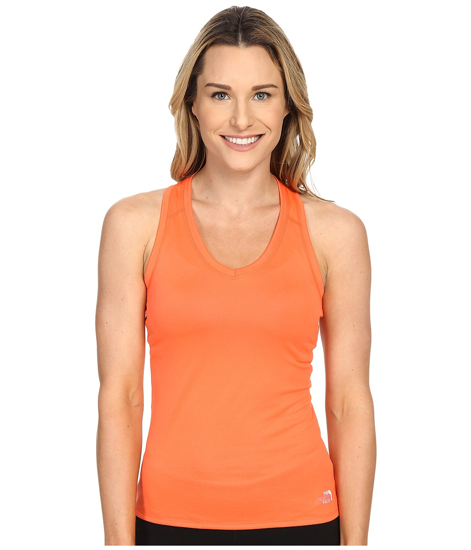 The North Face Reaxion Amp Tank Top Radiant Orange/TNF White Multi Womens Sleeveless