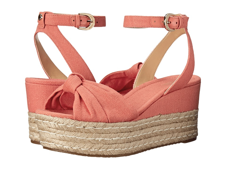 MICHAEL Michael Kors - Maxwell Mid Wedge (Pink Grapefruit Small Weave Canvas/Nappa) Women
