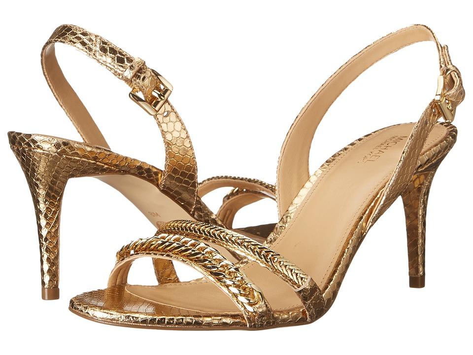 MICHAEL Michael Kors - Jackie Mid Sandal (Pale Gold Metallic Snake) Women