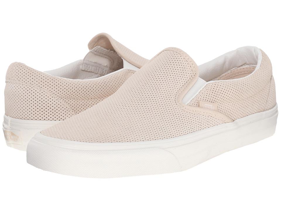 Vans Classic Slip On Perf Suede Sand Dollar/Blanc De Blanc Skate Shoes