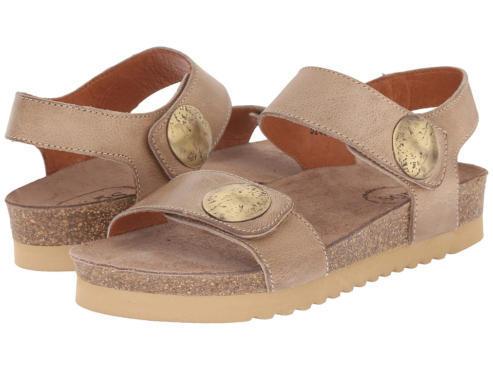 taos Footwear Luckie Taupe Waxed Leather Womens Shoes