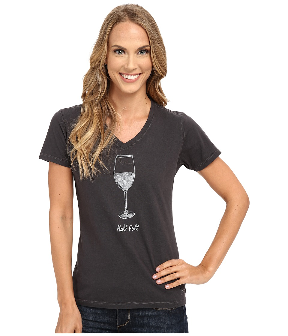 Life is good Half Full Wine Glass Crusher Vee Night Black Womens Short Sleeve Pullover