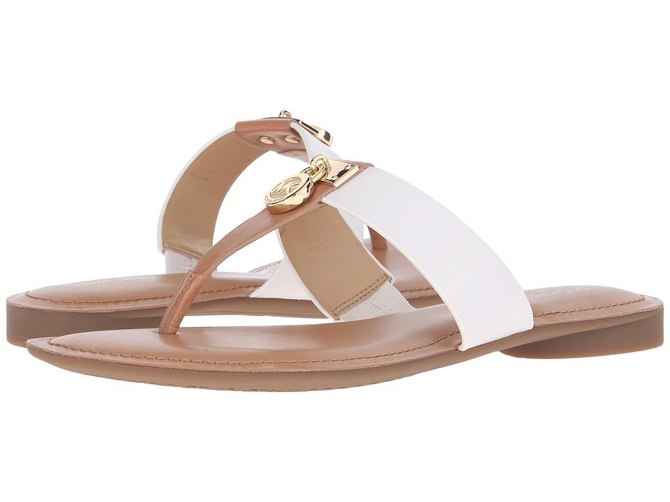 MICHAEL Michael Kors Hamilton Flat Sun Tan/Optic White Vachetta Womens Sandals