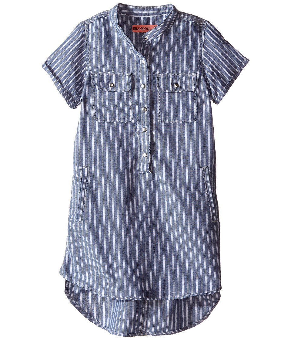 Blank NYC Kids Pin Stripe Linen Tunic Big Kids Yours Truly Girls Short Sleeve Button Up