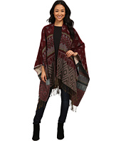 Brigitte Bailey - Maureen Reversible Pattern Cape w/ Fringe
