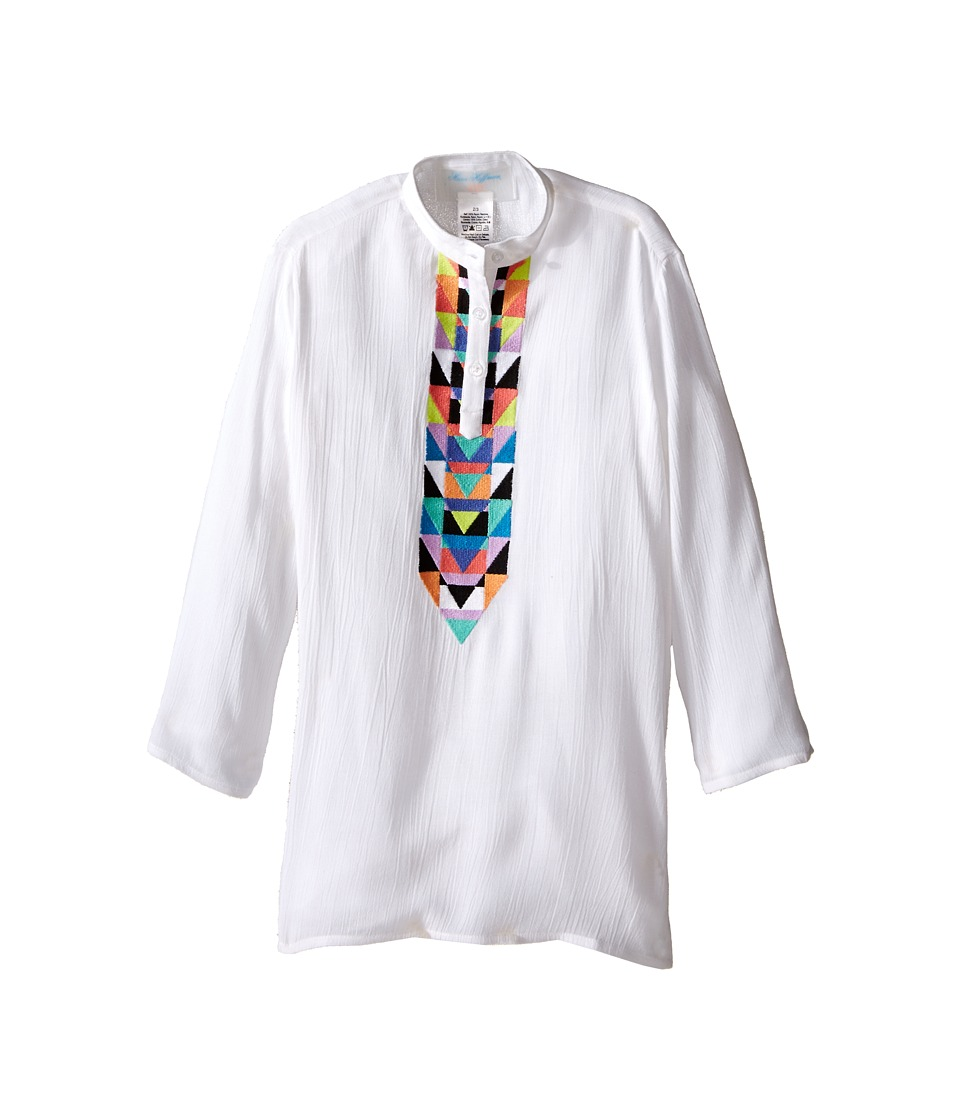 Mara Hoffman Kids Embroidered Long Sleeve Tunic Toddler/Little Kids/Big Kids White Kids Swimwear