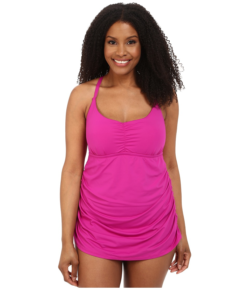 BECCA by Rebecca Virtue Plus Size Becca ETC Janis Skirted One Piece Fuchsia Womens Swimsuits One Piece