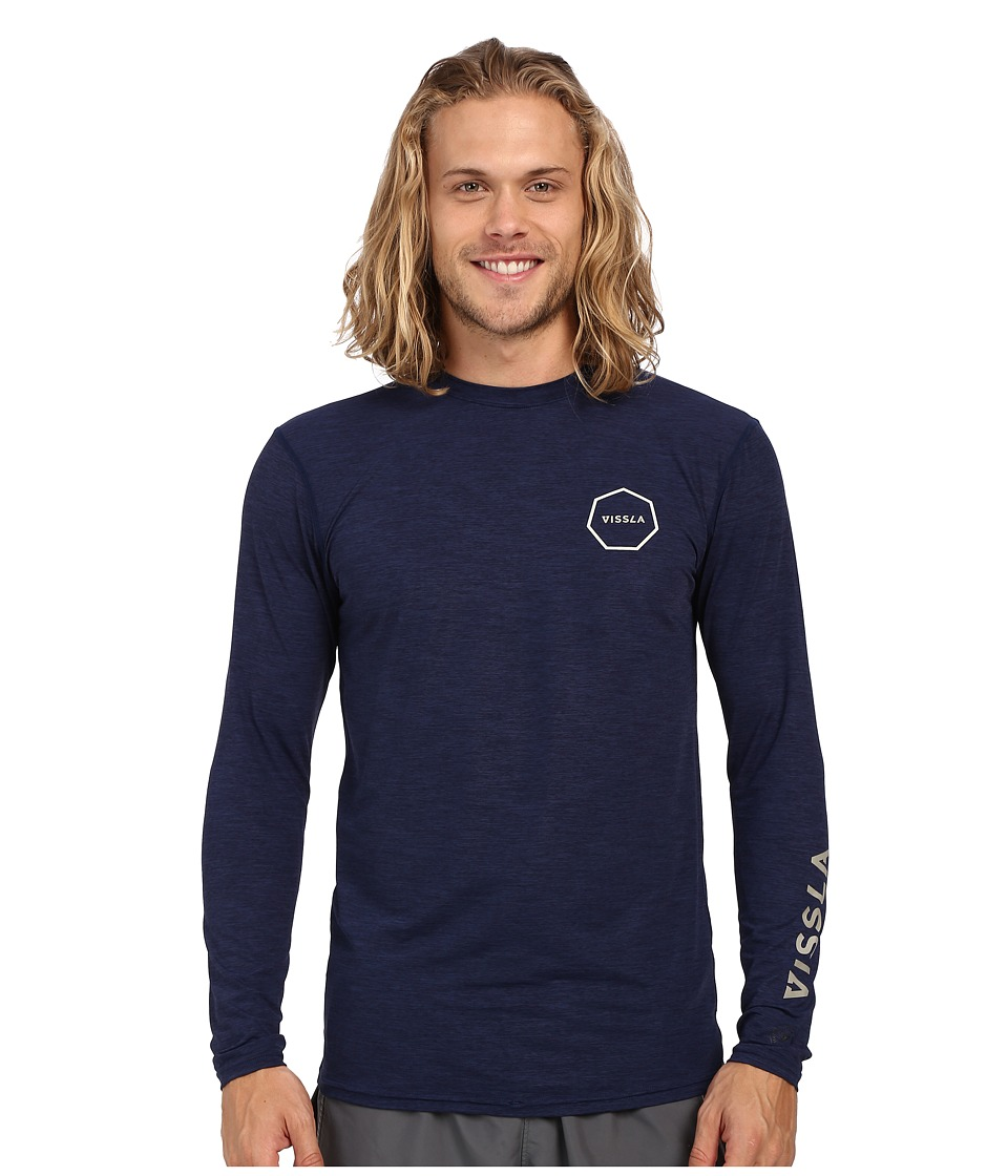 VISSLA Alltime Long Sleeve Heathered Surf Tee UPF 50 Naval Heather Mens Long Sleeve Pullover