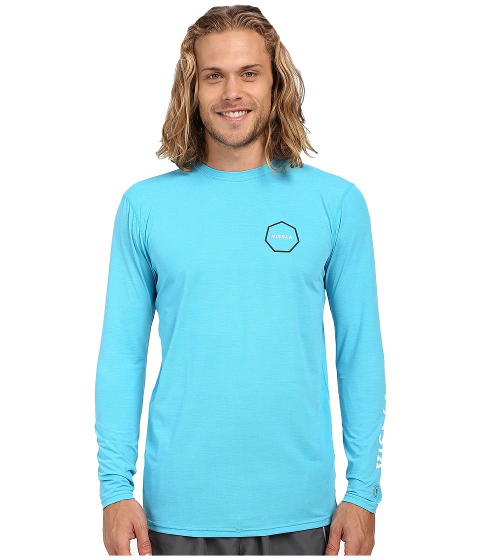 VISSLA Alltime Long Sleeve Heathered Surf Tee UPF 50 Blue Wash Heather Mens Long Sleeve Pullover