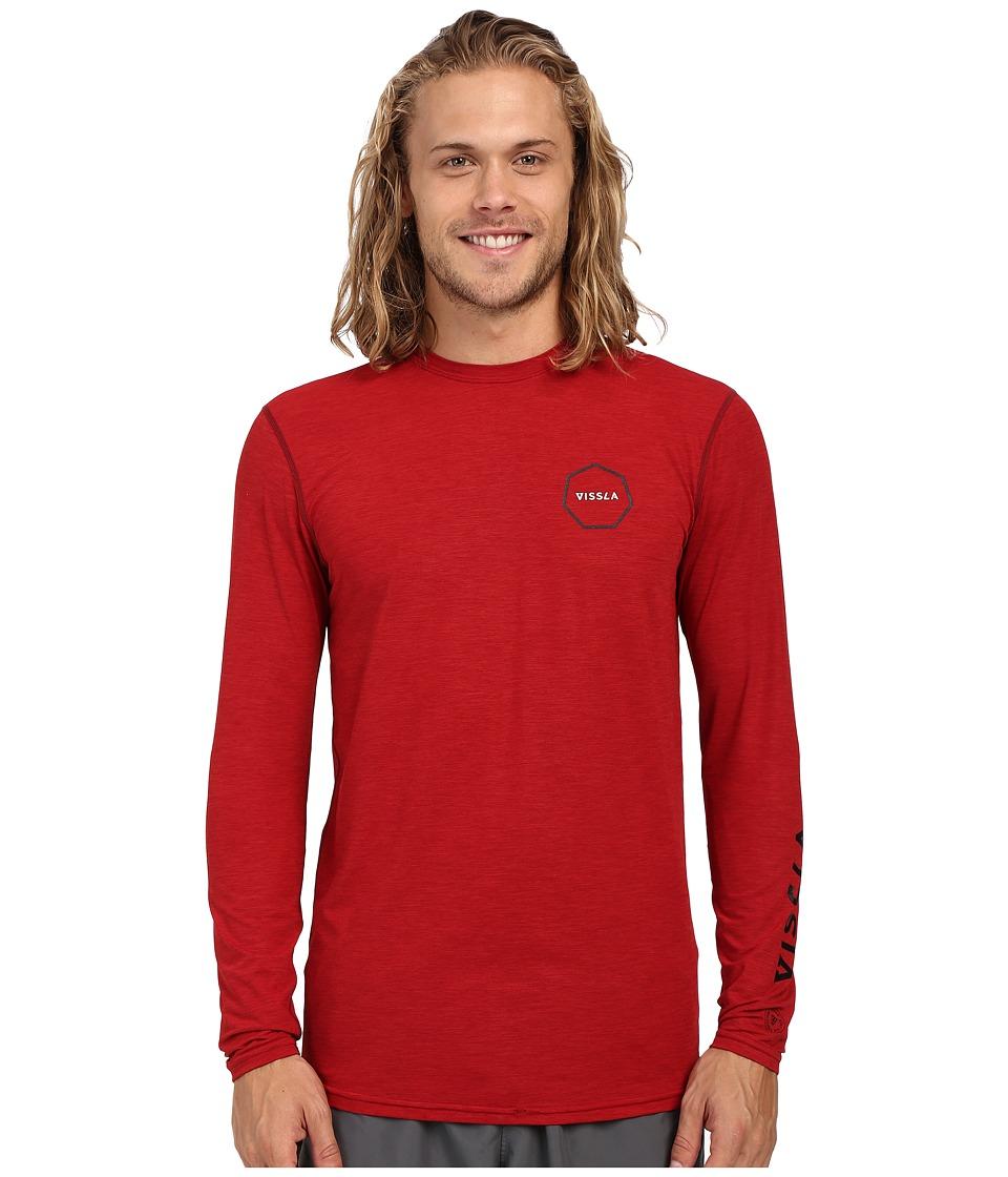 VISSLA Alltime Long Sleeve Heathered Surf Tee UPF 50 Blood Heather Mens Long Sleeve Pullover