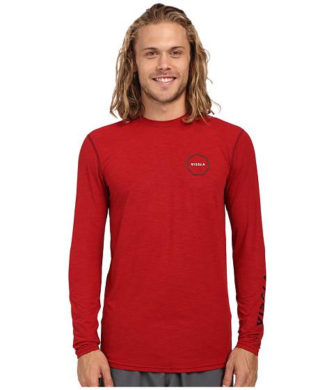 VISSLA Alltime Long Sleeve Heathered Surf Tee UPF 50 - Blood Heather