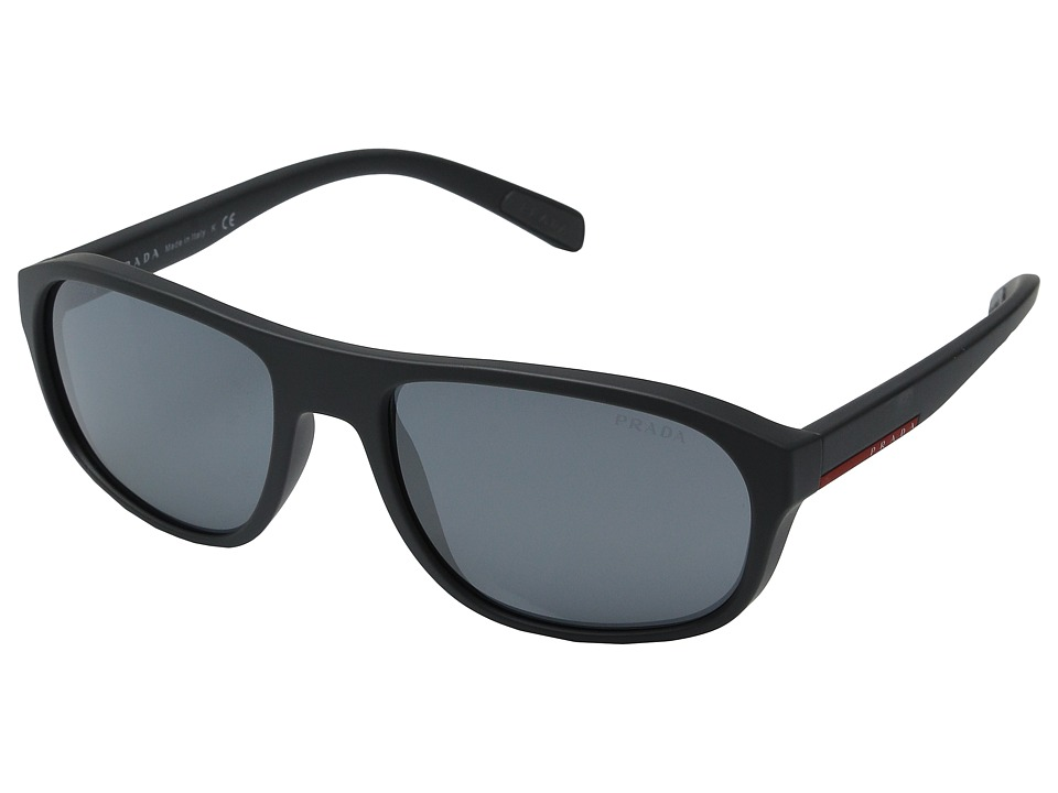 Prada Linea Rossa 0PS 01RS Grey Rubber/Light Grey Mirror Black Fashion Sunglasses