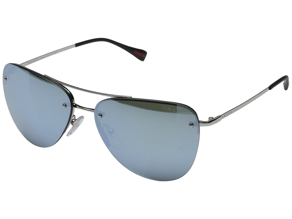 Prada Linea Rossa 0PS 53RS Silver/Black/Green Mirror Silver Fashion Sunglasses