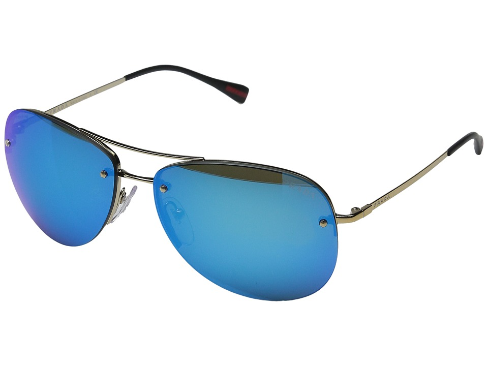 Prada Linea Rossa 0PS 50RS Pale Gold/Black/Light Green Mirror Blue Fashion Sunglasses