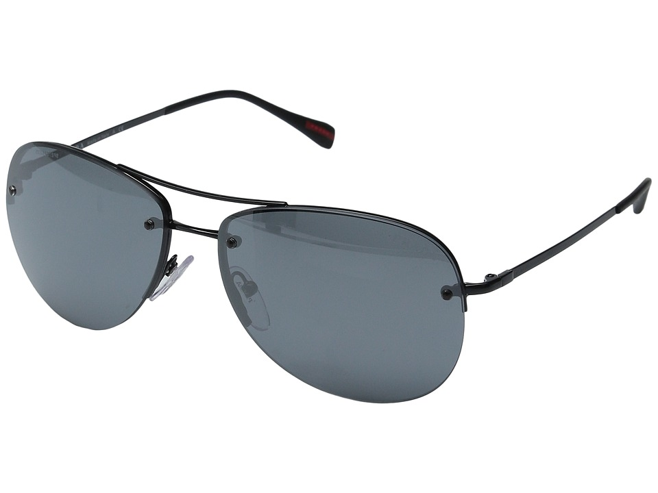 Prada Linea Rossa - 0PS 50RS (Black/Black/Light Grey Mirror Black) Fashion Sunglasses