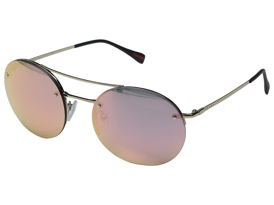 Prada Linea Rossa 0PS 54RS Pale Gold/Black/Grey Mirror Rose Gold Fashion Sunglasses