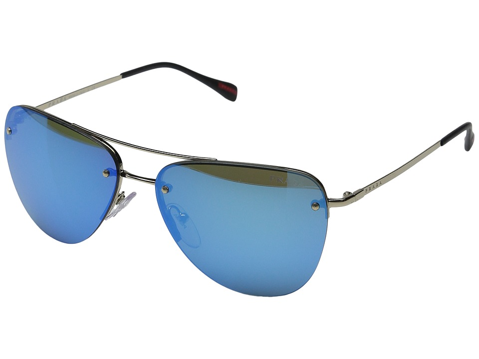 Prada Linea Rossa 0PS 53RS Pale Gold/Black/Light Green Mirror Blue Fashion Sunglasses