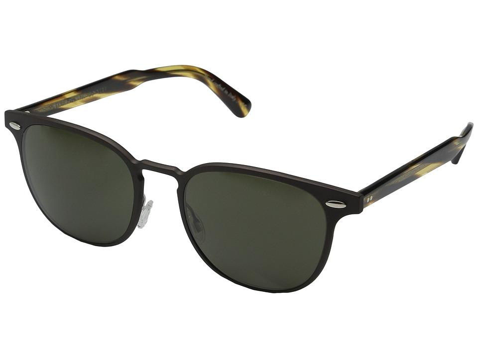 Oliver Peoples Sheldrake Metal Brushed Brown/Cocobolo G15 Fashion Sunglasses