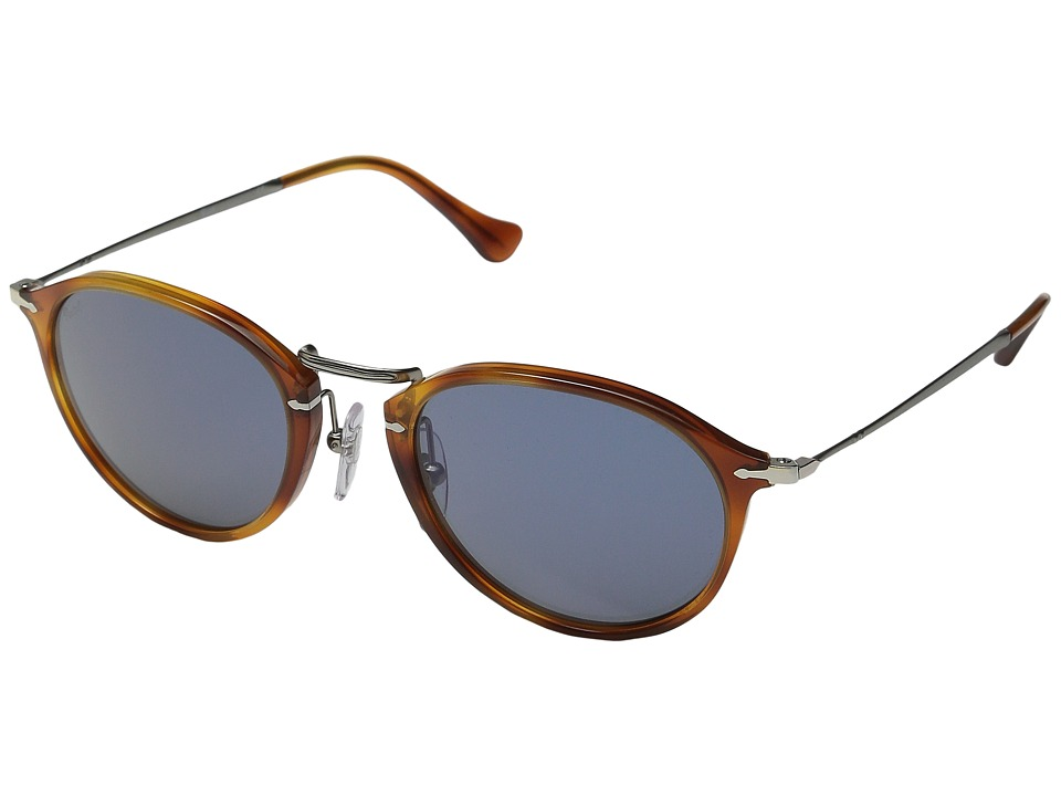 Persol 0PO3046S Havana/Gunmetal/Light Blue Fashion Sunglasses