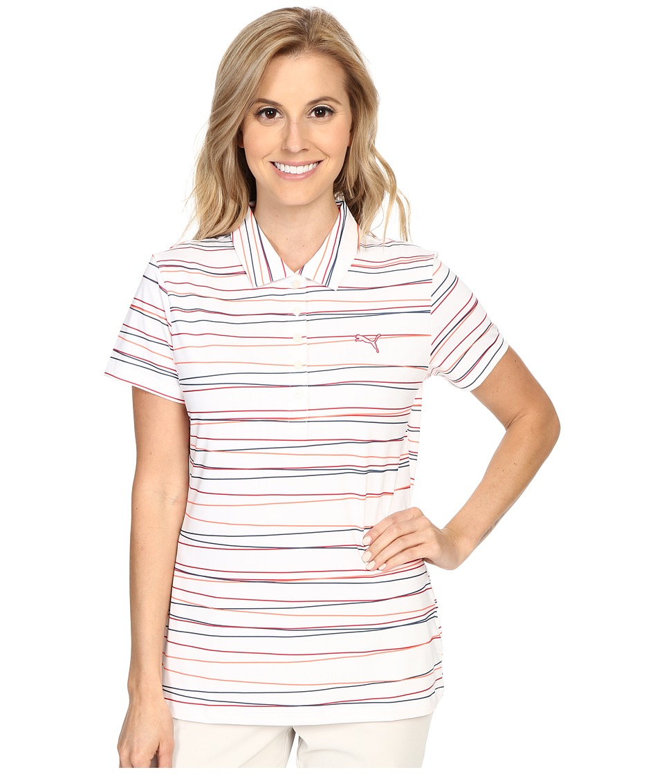 PUMA Golf Road Map Stripe Polo Rose Red Womens Clothing