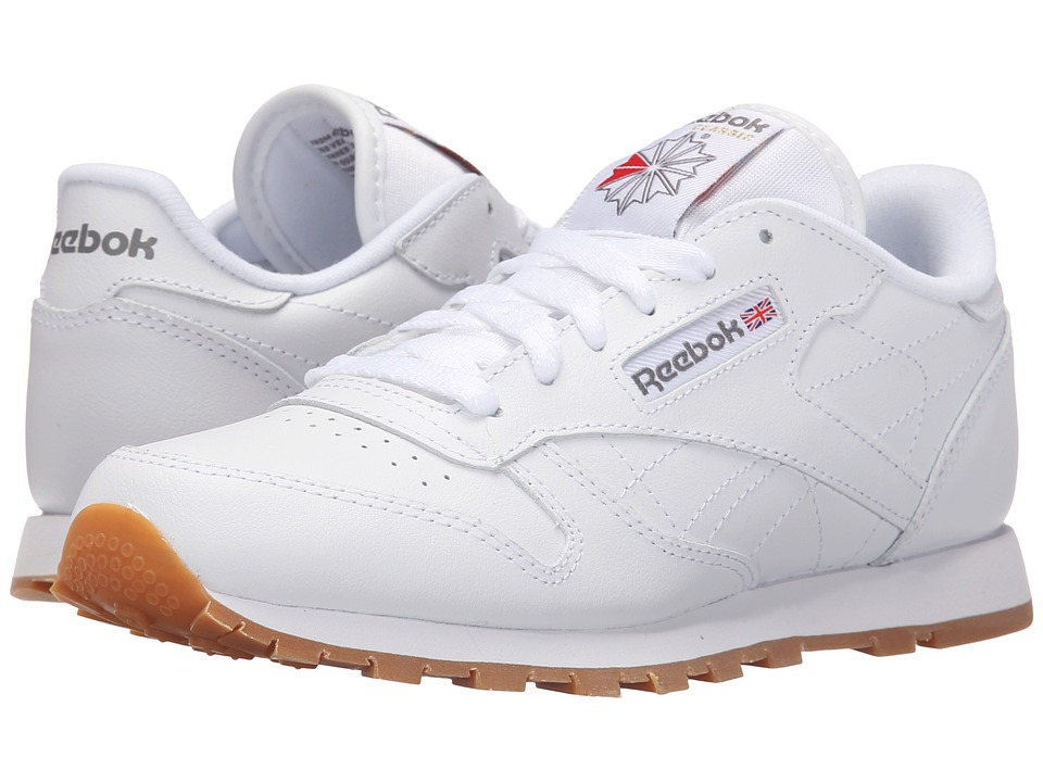 Reebok Kids Classic Leather Big Kid White/Gum Kids Shoes