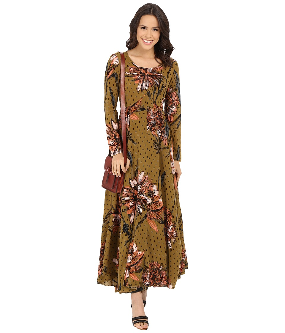 Free People First Kiss Printed Dress Goldenrod Combo Womens Dress