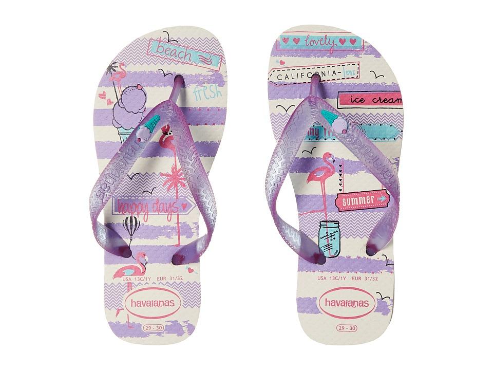 Havaianas Kids - Fantasy (Toddler/Little Kid/Big Kid) (White/Purple) Girls Shoes