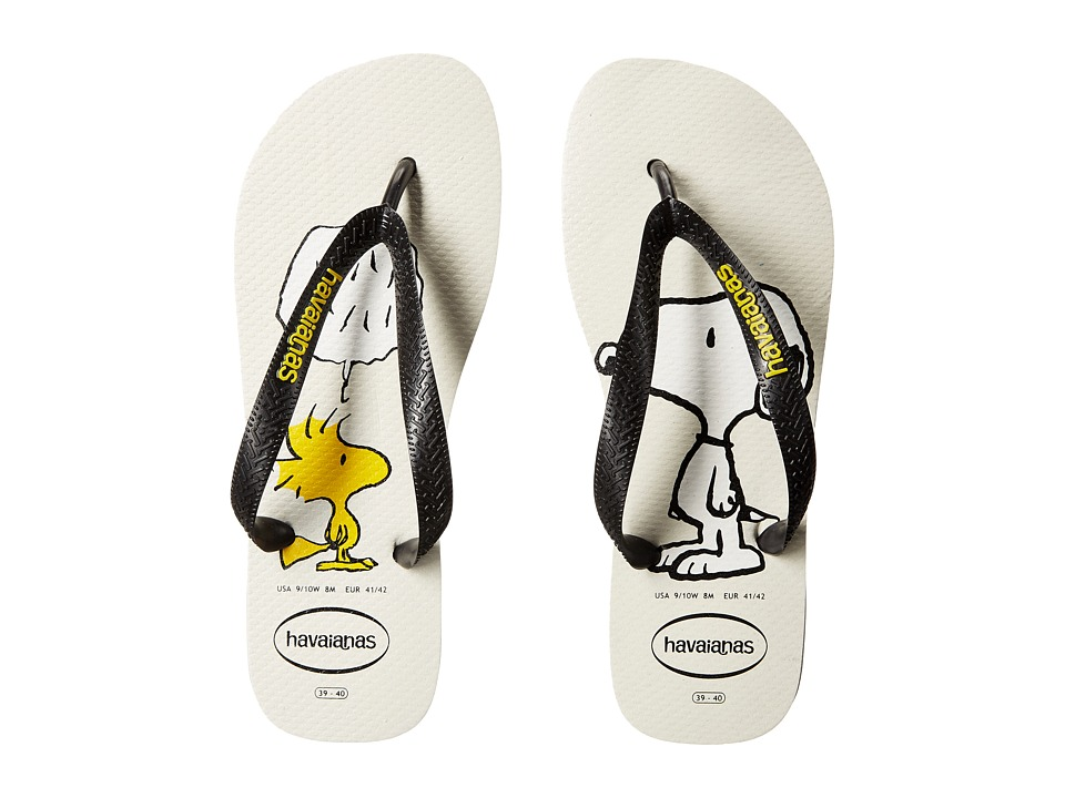 Havaianas Snoopy Flip Flops White/Black Womens Sandals