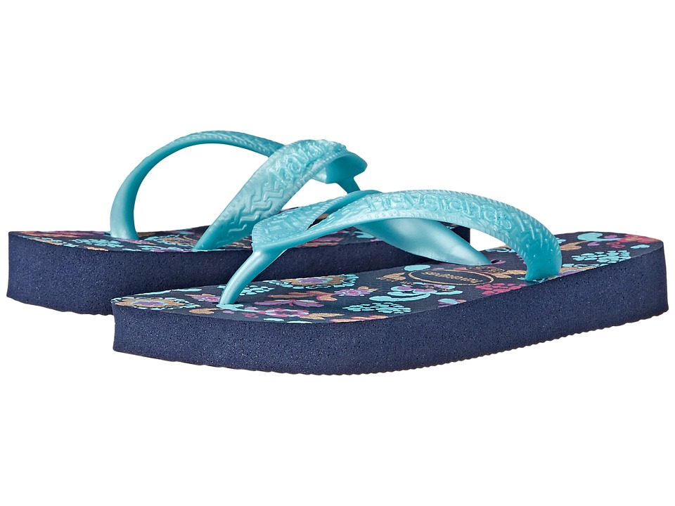 Havaianas Kids Flores Toddler/Little Kid/Big Kid Navy Blue Girls Shoes